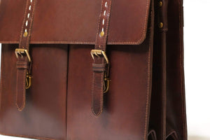 antique brown leather briefcase bag