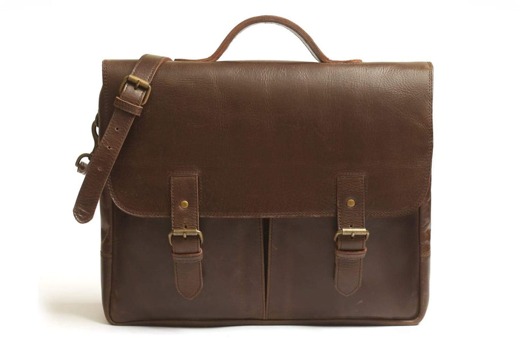 "Commuter 14"" leather messenger bag - Antique Brown"