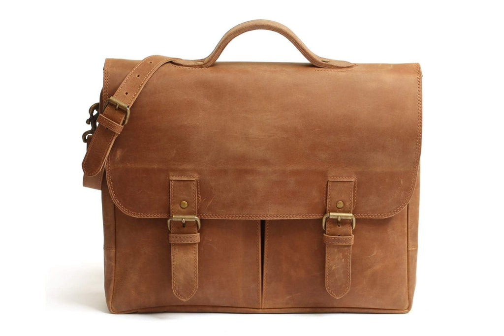 Distressed leather messenger bag with shoulder strap