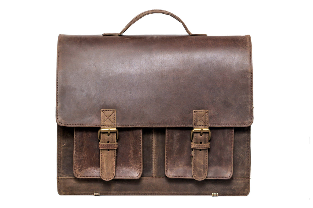 Cree - Distressed leather briefcase