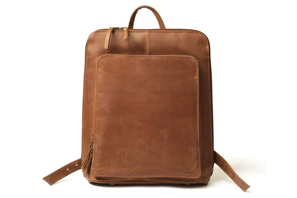 Smart Tech Leather Backpack - Distressed