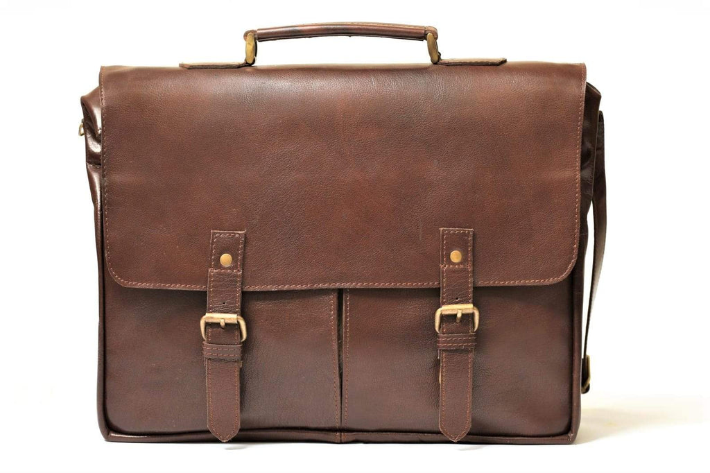 handmade leather traveler briefcase bag