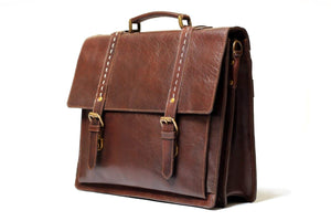 "Travel Course Leather 17"" Briefcase - Antique Brown"