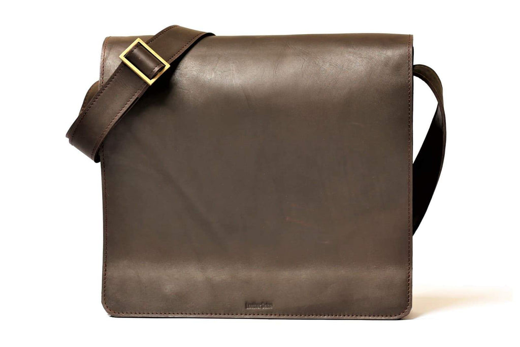 "Urban Modernizer 14"" leather laptop Messenger bag - Dark Brown"