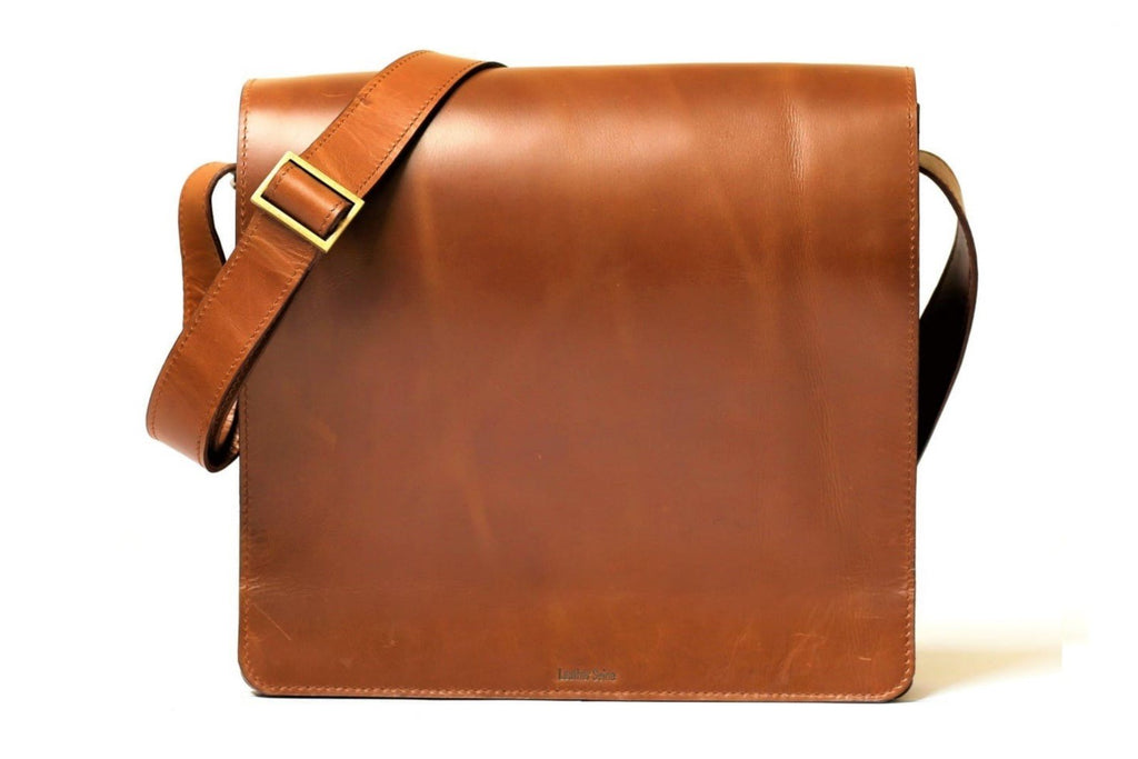 "Urban Modernizer 14"" leather laptop Messenger bag - Mud Brown"