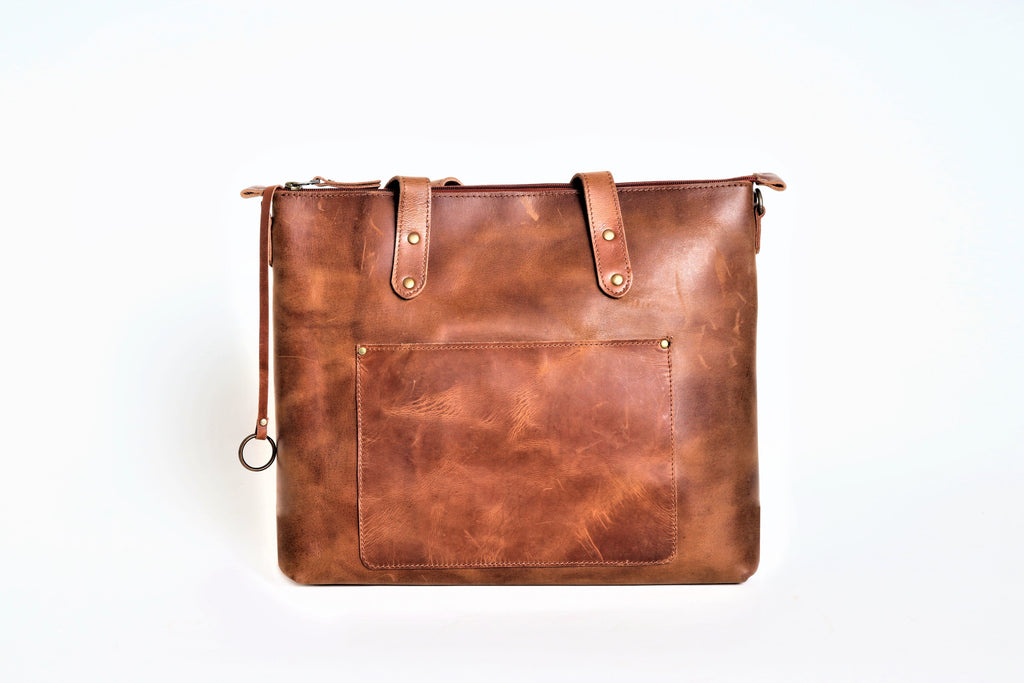 Distressed leather Tote Handbag - zipper