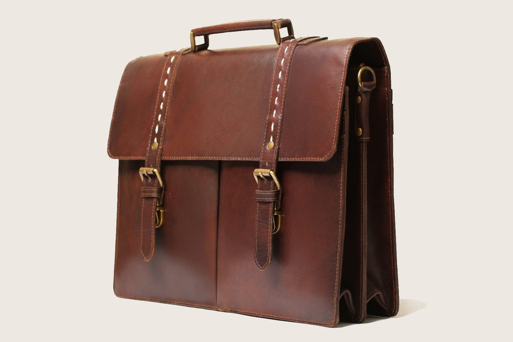 "17"" Formal Leather Briefcase - Antique Brown"
