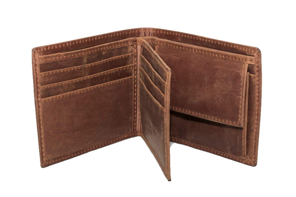 Bifold Distressed Leather Wallet side flap