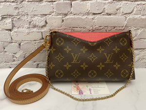 Louis Vuitton Pallas Red Clutch Chain Crossbody (CA0146)