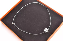 Load image into Gallery viewer, HERMES Logos H Cube White Silver Necklace