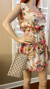 Louis Vuitton Neverfull MM/GM Damier Azur Rose Ballerine Wristlet