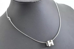 HERMES Logos H Cube White Silver Necklace