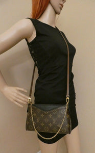 Louis Vuitton Black Pallas Noir Clutch Crossbody Bag (CA4195) + Box