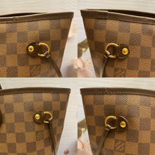 Load image into Gallery viewer, Louis Vuitton Neverfull MM Damier Ebene Cherry Red Tote+Shopping Bag(AR4089)
