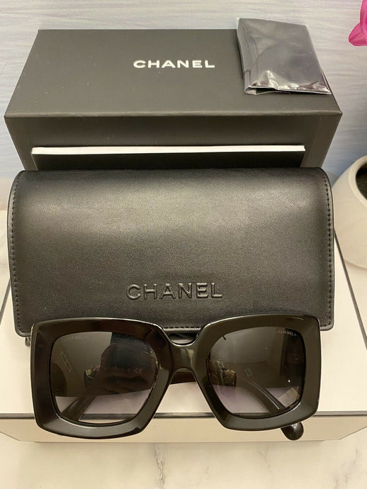 Brand New Square Chanel Sunglasses - Model 5435 BLACK - COCO CHANEL-CC Logo