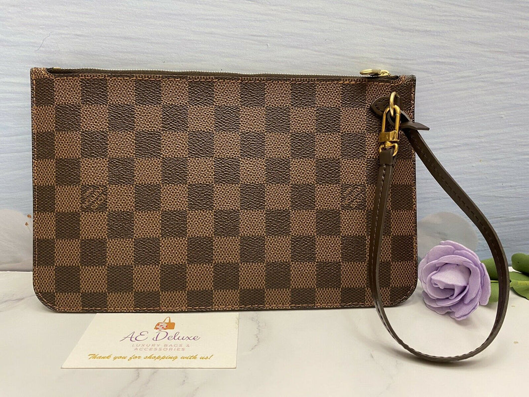 Neverfull MM/GM Damier Ebene Red Wristlet (FL3127)
