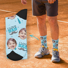 Custom I Love Dad Socks Add Pictures And Name