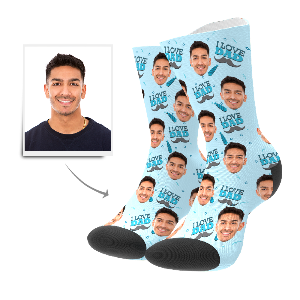 Custom I Love Dad Socks With Your Text