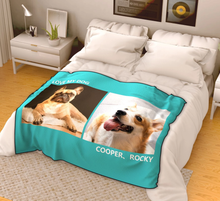 Photo Blanket Personalized Pets Fleece with 2 Photos - MyFaceSocksAU