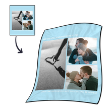 Personalized Love with 3 Photos Fleece Custom Blanket - MyFaceSocksAU