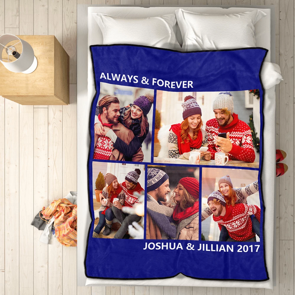 Personalized Sweet Lover with 5 Photos Fleece Custom Blanket - MyFaceSocksAU