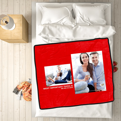 Personalized Perfect Love with 2 Photos Fleece Custom Blanket - MyFaceSocksAU