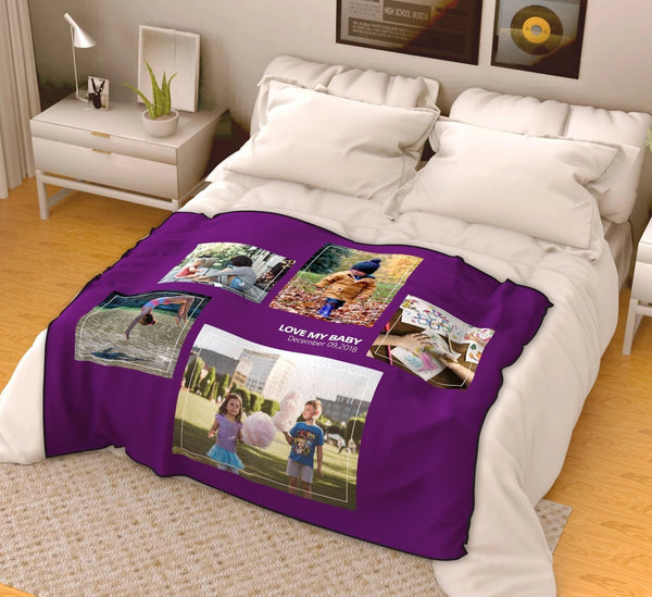 Personalized Kids with 5 Photos Fleece Custom Blanket - MyFaceSocksAU