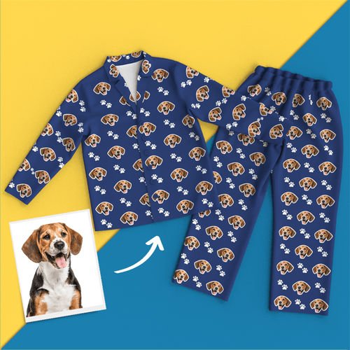 Custom Face Pyjamas Long Sleeve Leisure Wear - Pet Footprint