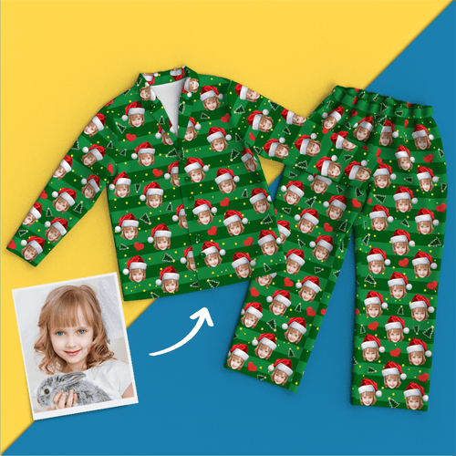 Custom Face Christmas Pajamas - Heart