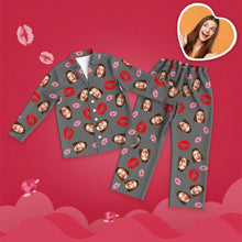 Valentine's Day Custom Face Lip Printed Long Sleeve Pajamas Set