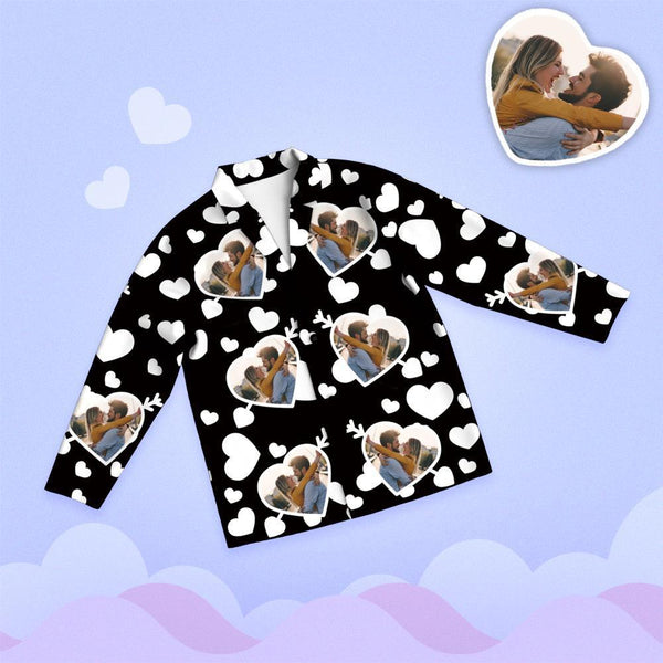 Valentine's Day Custom Photo Cupid's Arrow Printed Long Sleeve Pajamas