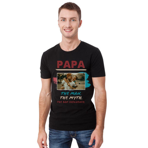 Custom Photo T-shirt Papa The Man The Myth - Myfacesocksau