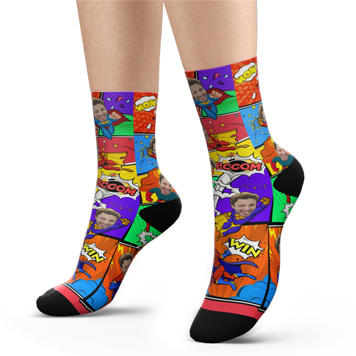 Custom Face Superman Socks Comic