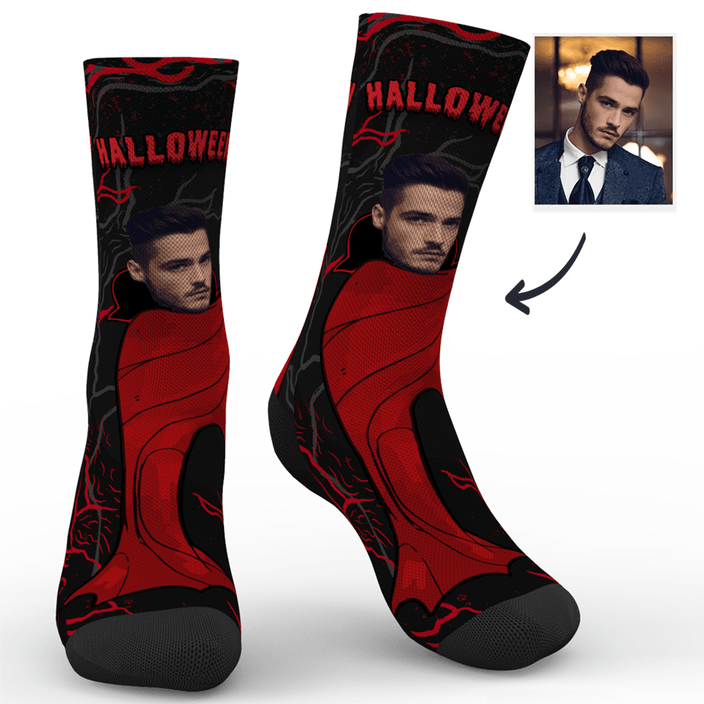 Custom Halloween Vampire Mr Face Socks