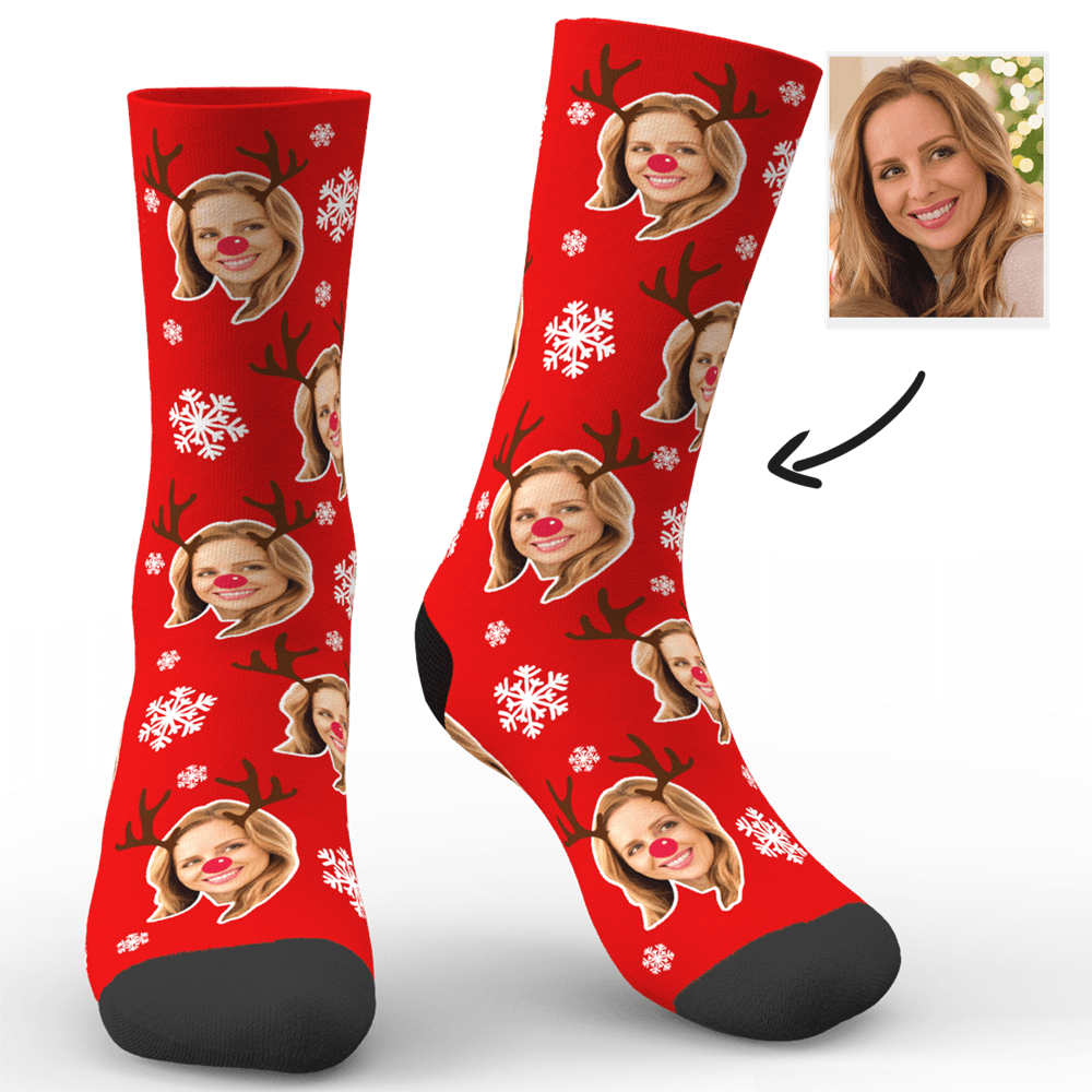 Custom Face Socks Christmas Moose