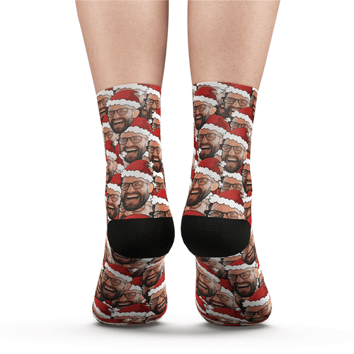 Custom Face Mash Socks Santa's hat