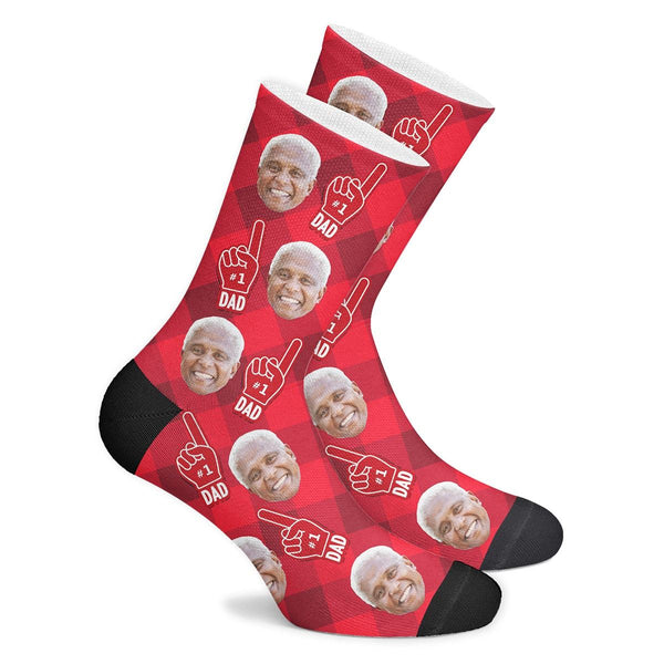 Custom #1 Dad Fan Socks With Your Text - MyPhotoSocks