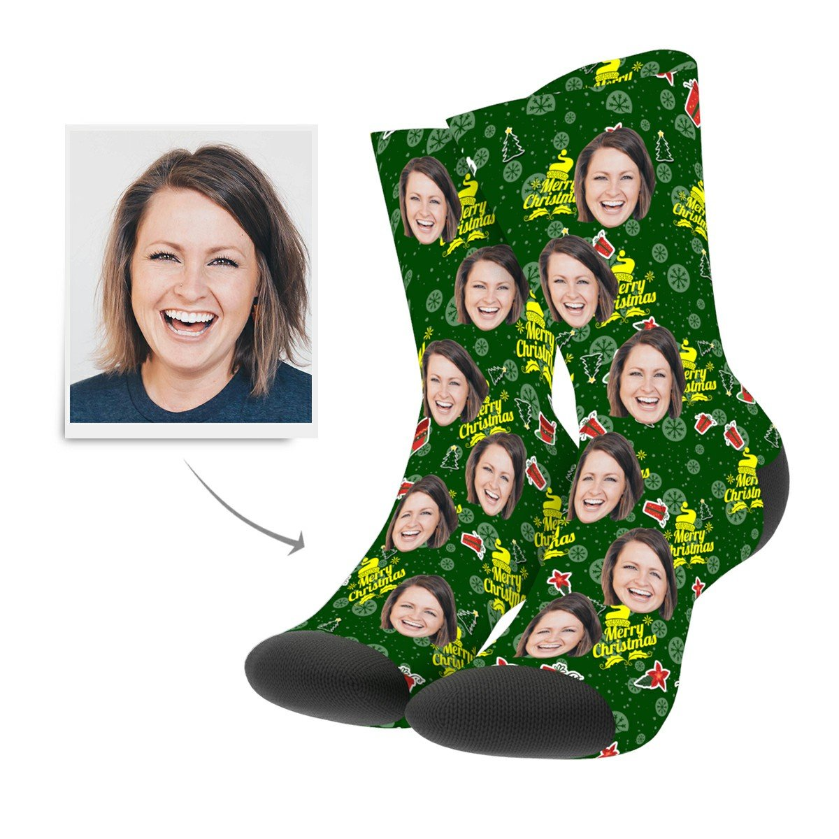 Christmas Custom Gifts Cartoon Socks - Myfacesocksau