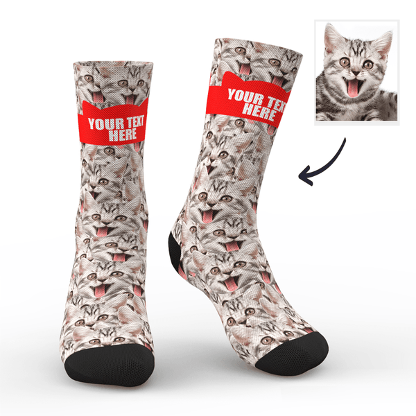 Custom Face Mash Cat Socks With Your Text - MyFaceSocksAU