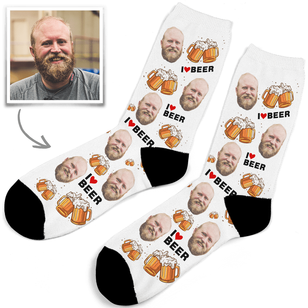 Custom Face Socks I Love Beer