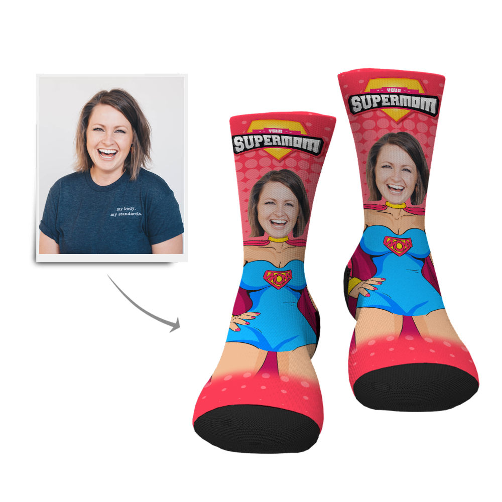 Custom Supermom Face Socks - Myfacesocksau