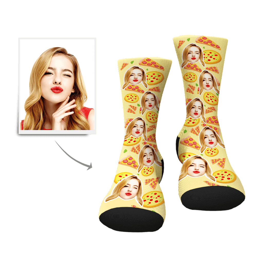 Custom Pizza Pattern Face Socks - Myfacesocksau