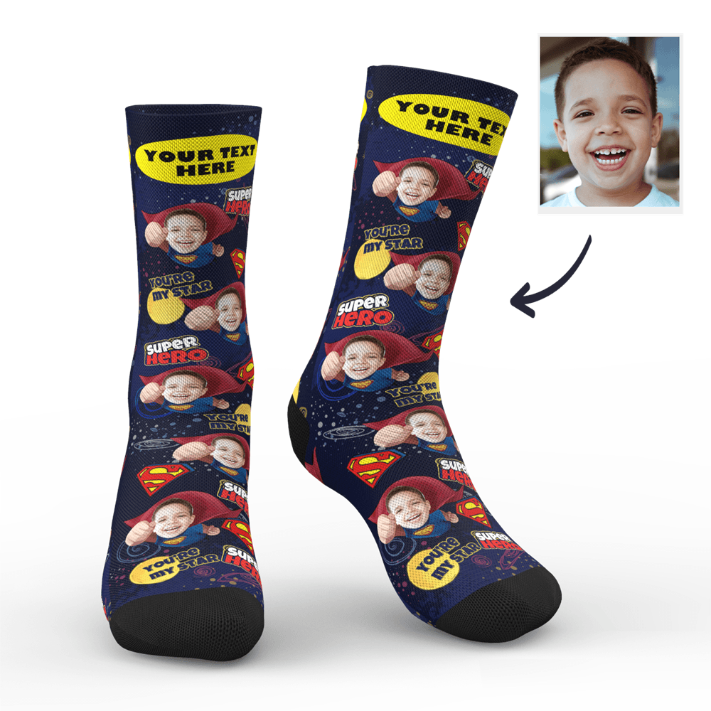Custom Superhero Face Socks With Your Text - MyPhotoSocks
