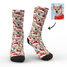 Custom Face Mash Socks Santa hat Dog