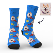 Custom Face Socks Super Dog With Your Text