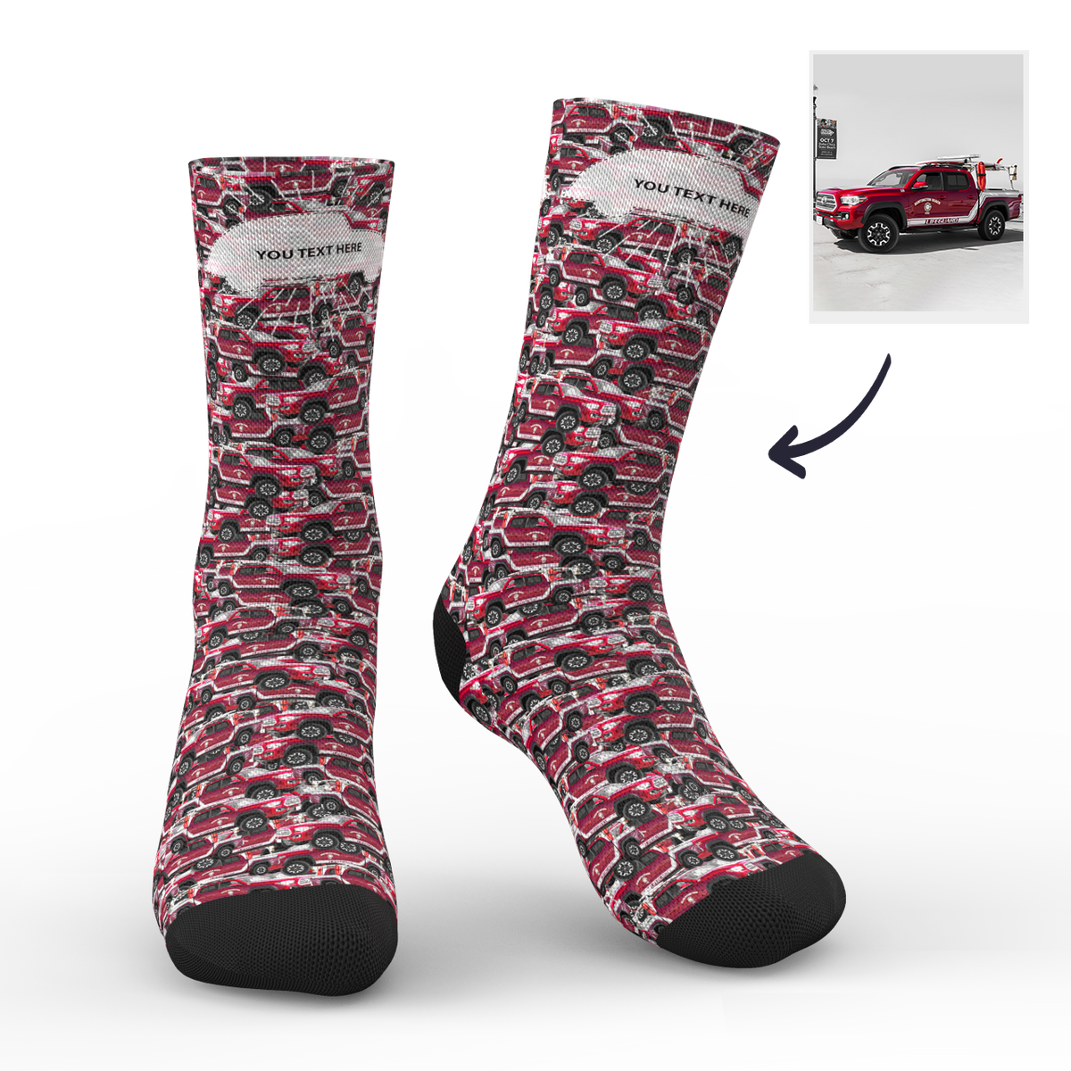 Custom Face Socks Car Mash With Your Text