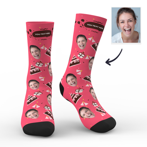 Custom Face Socks Birthday Gift With Your Text