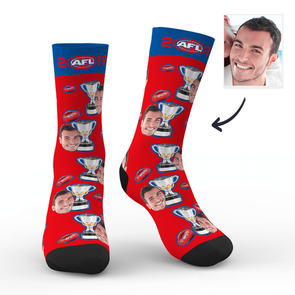 Custom Face Socks AFL Champions With Your Text