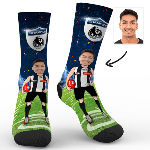 Custom Face Socks Collingwood Magpies Superfans With Your Text