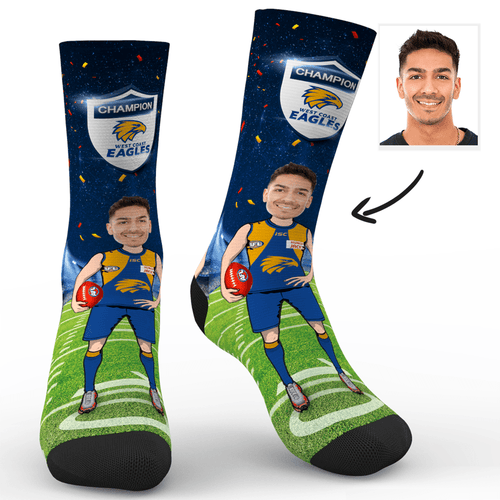 Custom Face Socks West Coast Eagles Superfans AFL With Your Text